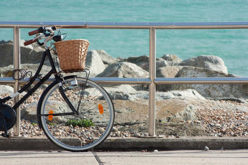 Bicycle by the Sea, Rottingdean Beach, East Sussex, UK royalty free stock photos
