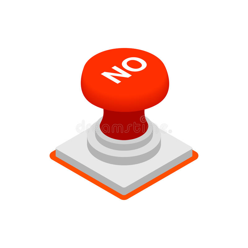 Push button NO icon, isometric 3d style stock illustration