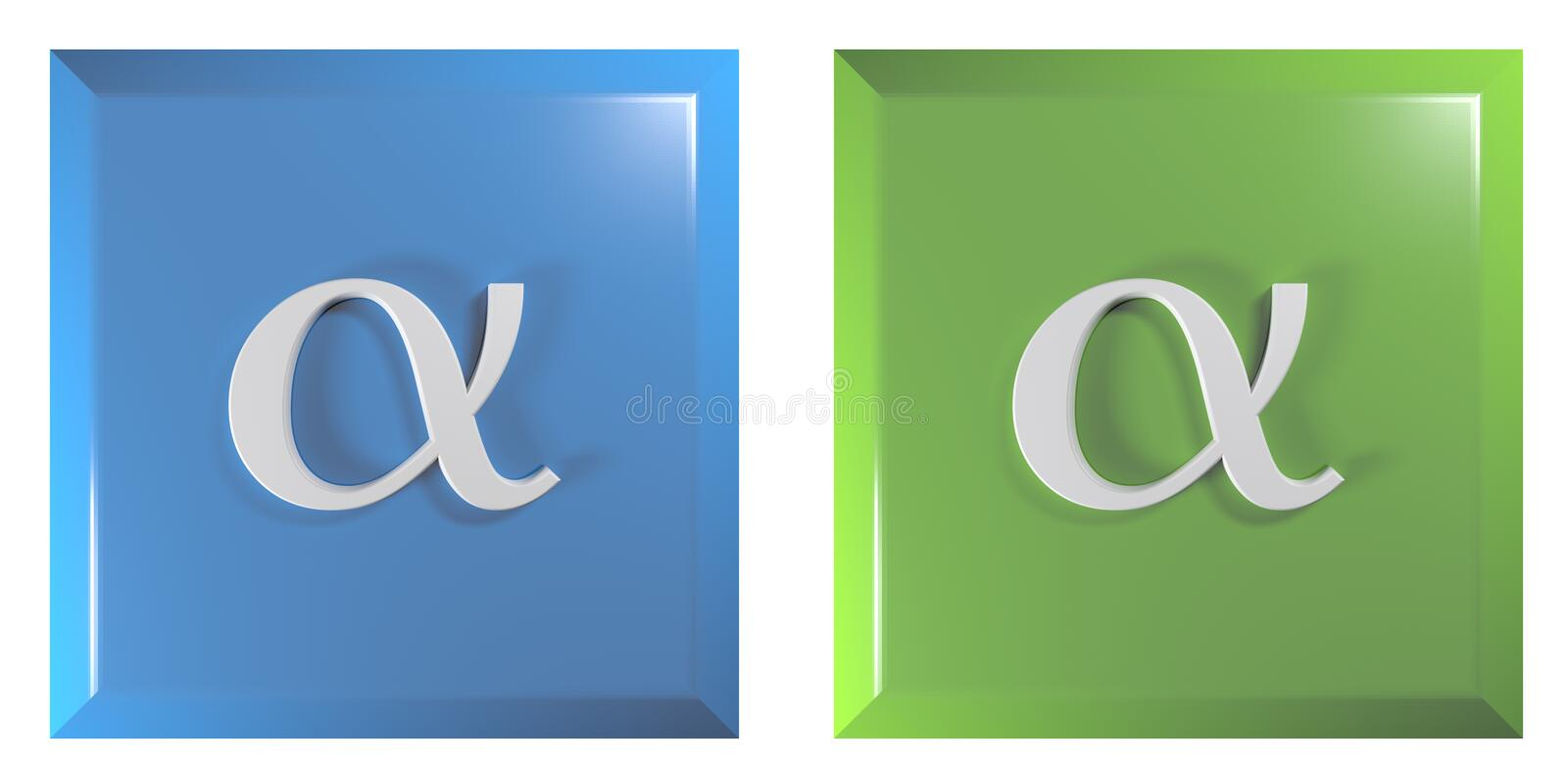 Push buttons square, blue and green with alpha sign - 3D rendering illustration. A couple of square blue and green push buttons with alpha sign, isolated on stock illustration