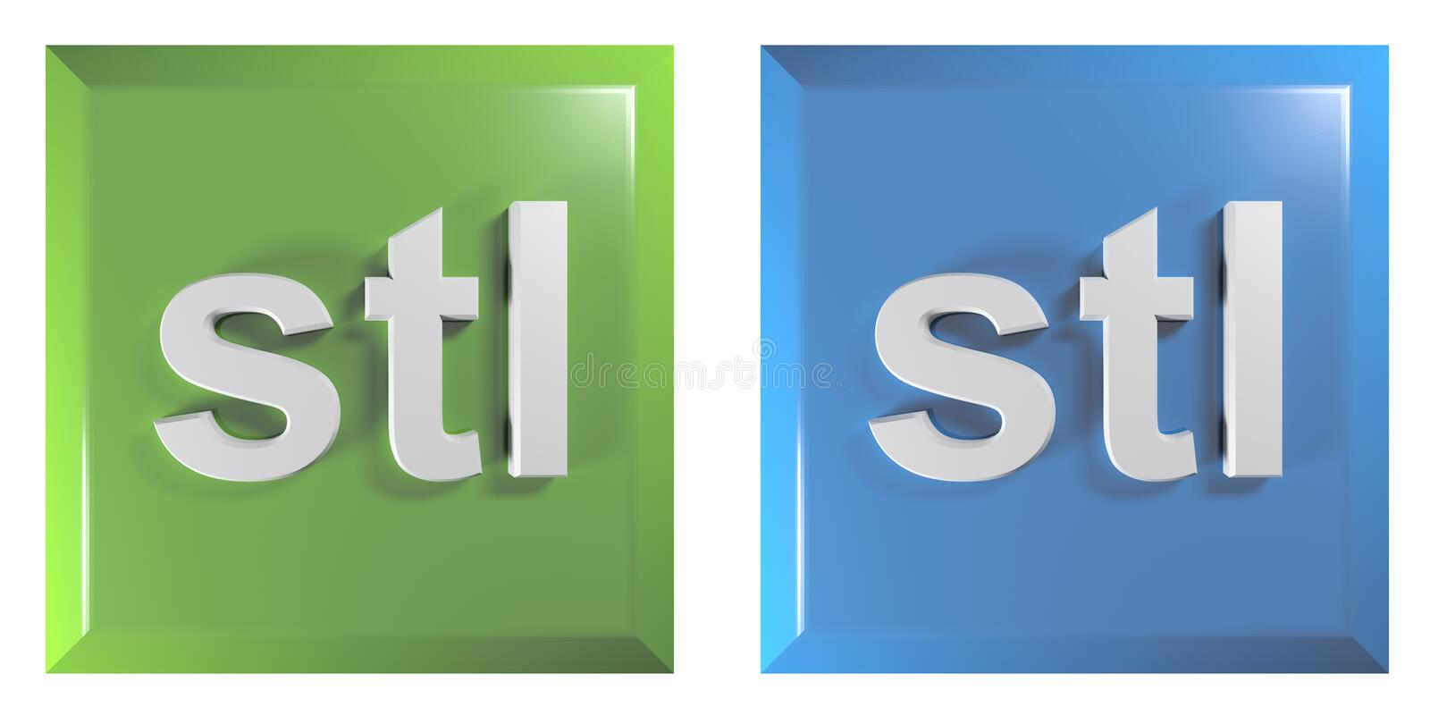Push buttons for STL files, green and blue, square - 3D rendering illustration vector illustration