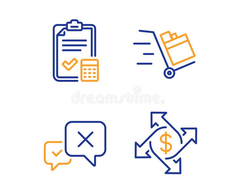 Push cart, Reject and Accounting checklist icons set. Payment exchange sign. Vector vector illustration