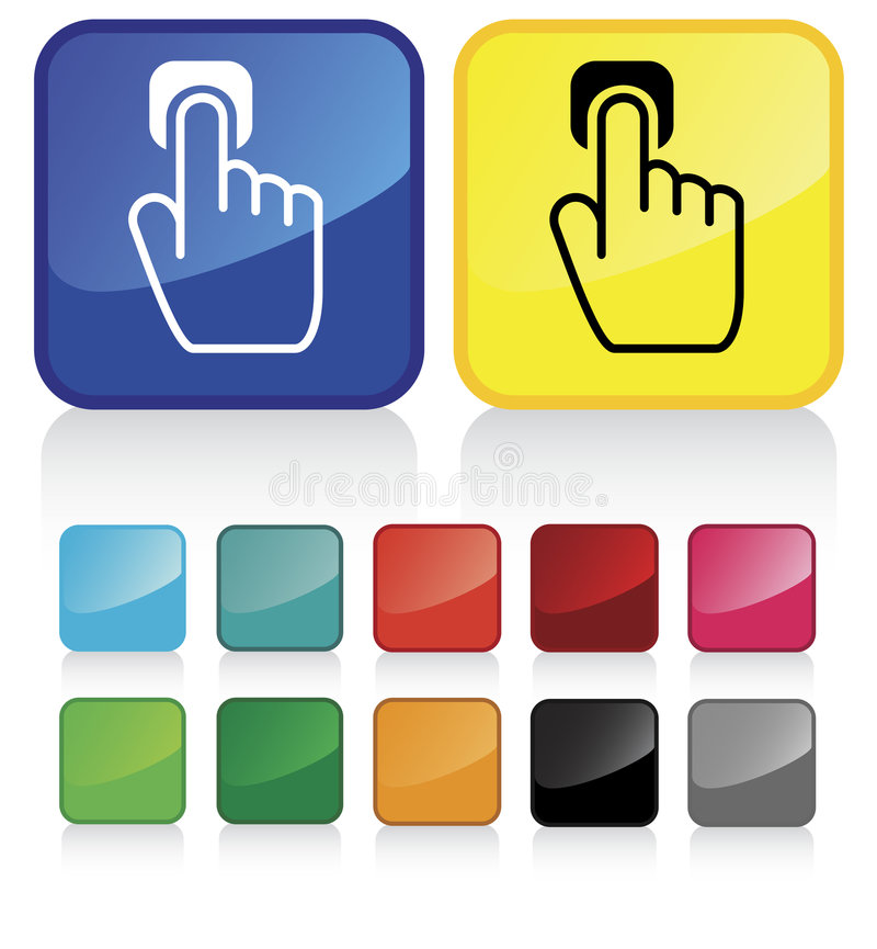 Push click. Conceptual vector illustration of hand index finger pointing button web2.0 - check my gallery for more. proposed colors