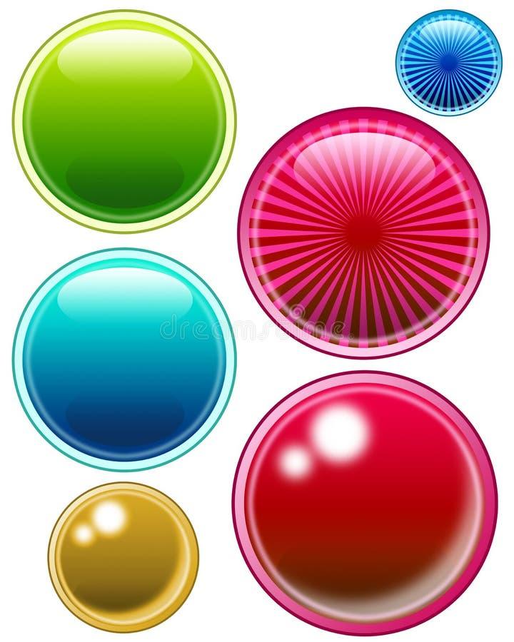 push för 01 knappar stock illustrationer