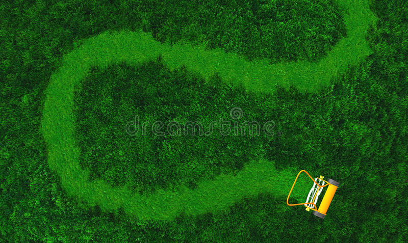 A push lawn mower draws a path. A top view of lawn where there is an orange push lawn mower in movement, that is cutting the grass drawing a curved path on the royalty free illustration