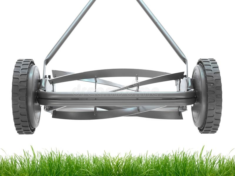 Push Mower. A push mower isolated against a white background stock photo