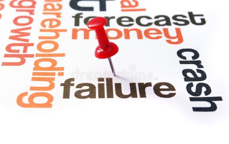 Push pin on failure text.  stock image