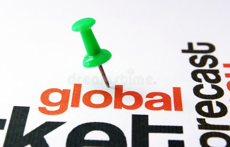 Push pin on global text.  royalty free stock photo