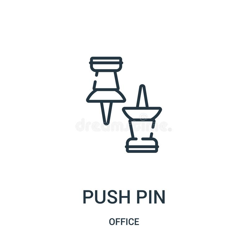 push pin icon vector from office collection. Thin line push pin outline icon vector illustration royalty free illustration