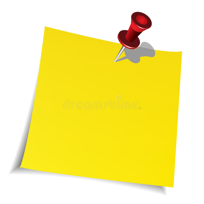 Push pin and paper note royalty free illustration