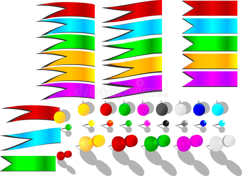 Push Pin And Ribon Stock Photography