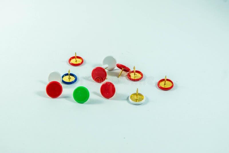 Push pin on white background stock image