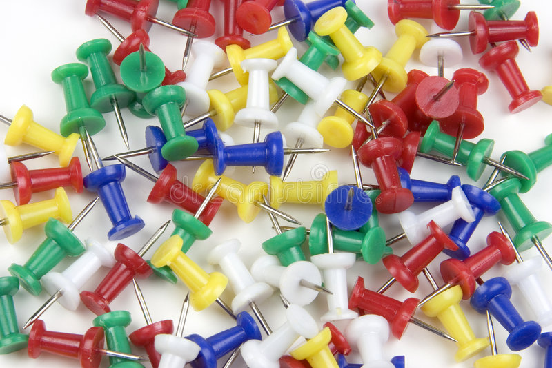 Push Pins. Colored Push Pins royalty free stock images