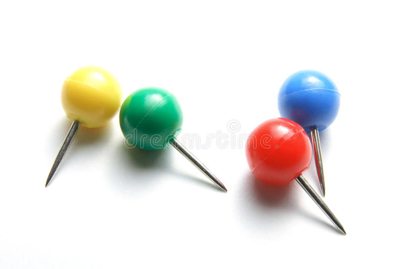 Push Pins. On White Background stock image