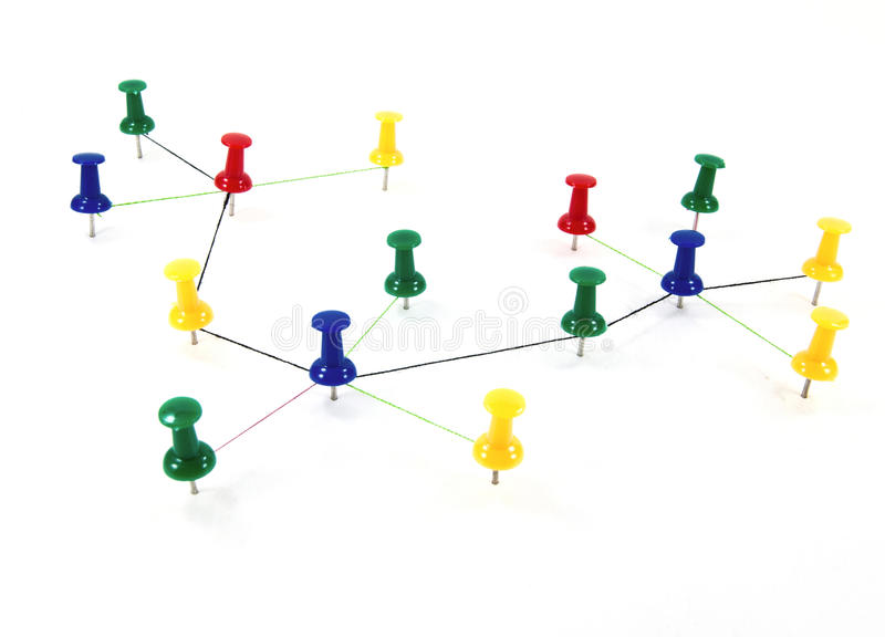 Push pins interconnected concept network. Push pins interconnected for network concept royalty free stock photography