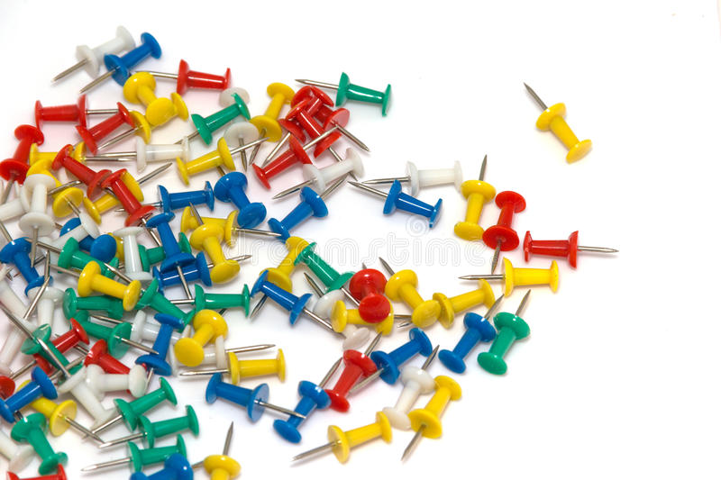 Push pins. Isolate with copy space background stock photo