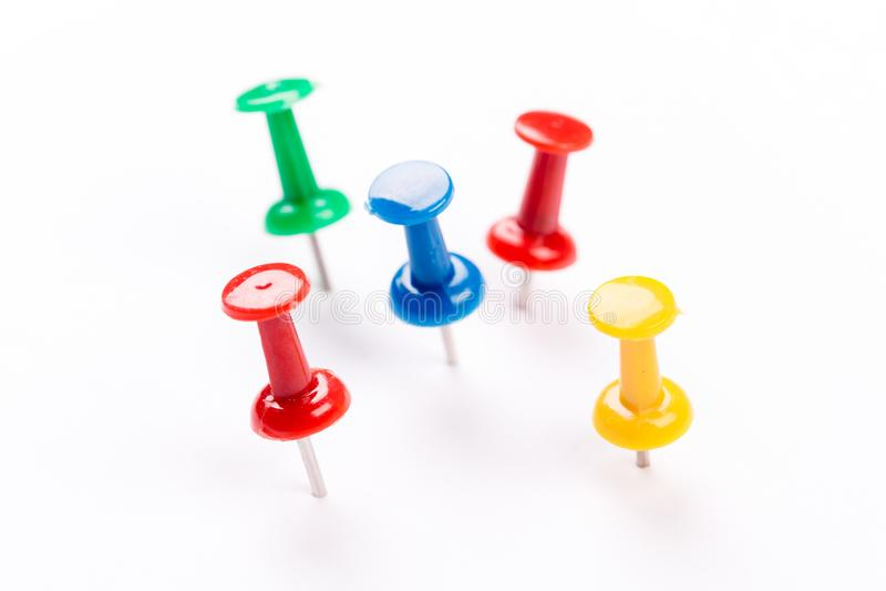 Push pins isolated on white background. Set of colorful push pins isolated on white background royalty free stock images