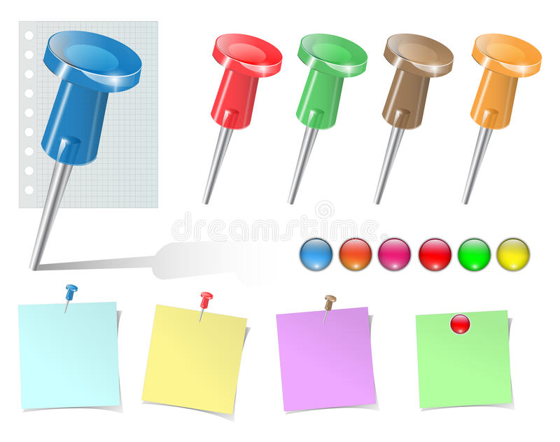 Push pins and stickers set. stock illustration