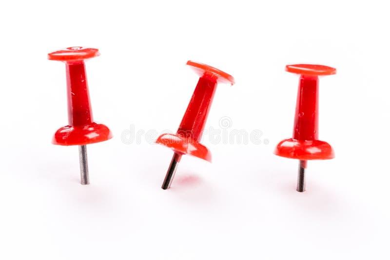 Push red pins isolated on white background. Set of red push pins isolated on white background stock image