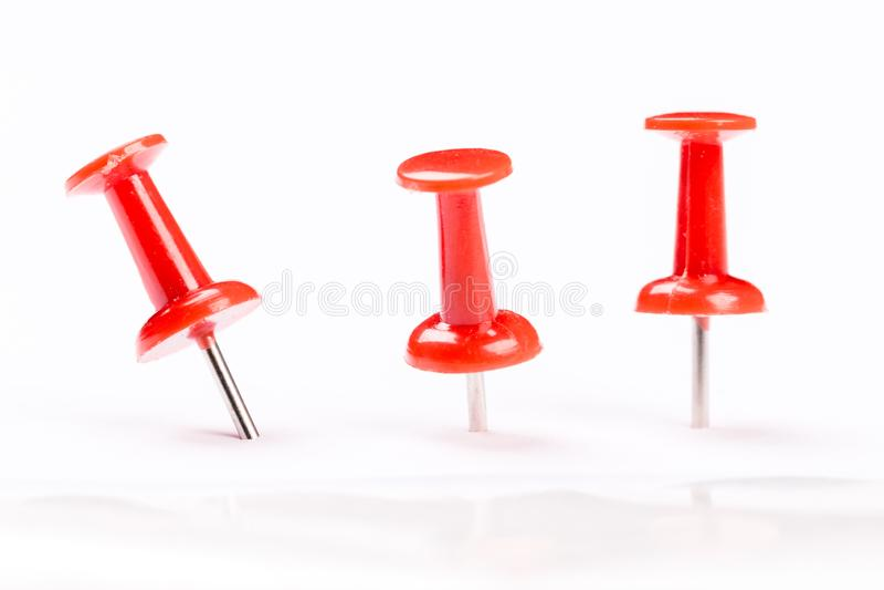 Push red pins isolated on white background. Set of red push pins isolated on white background royalty free stock image