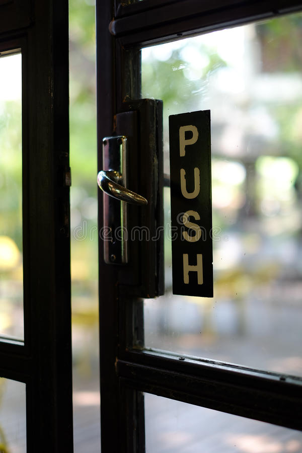 Push Sign On A Door Stock Photo Image Of Exit Entrance 86930664