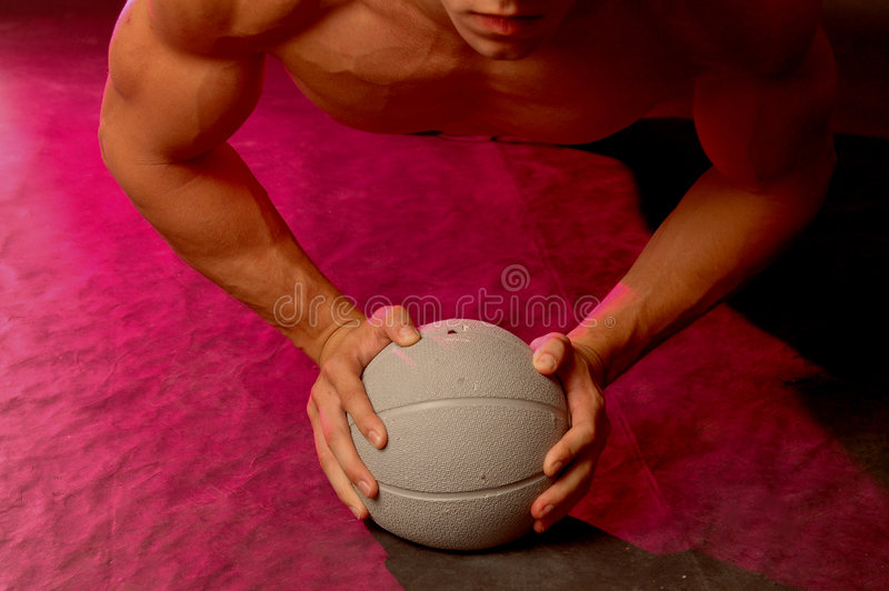 Push up with ball royalty free stock image