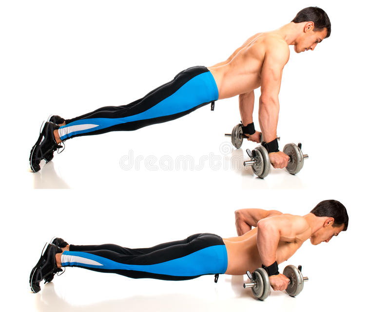 Push Up Exercise. Push-ups with dumbbells. Studio composite over white stock photography
