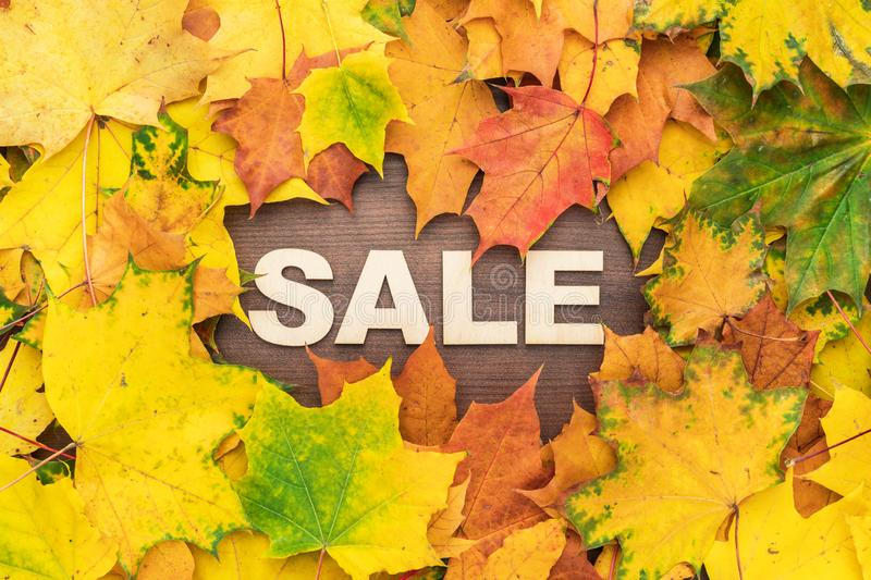 Wooden letters making up the word sale on brown table with a frame of colorful autumn leaves. fall sale season concept royalty free stock photo