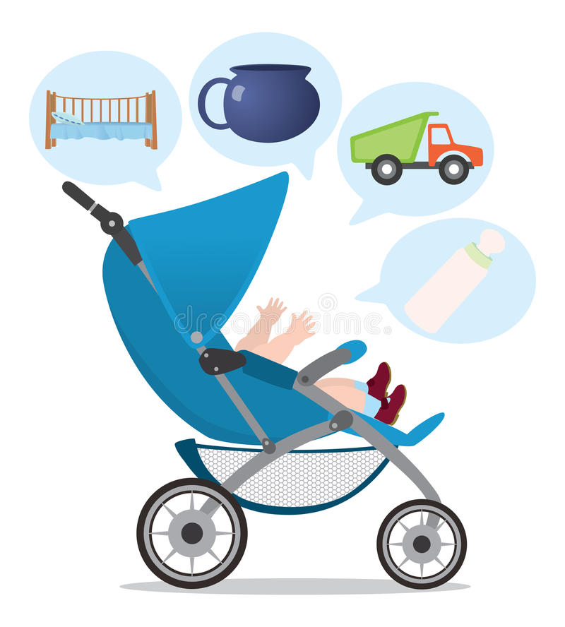 Download Pushchair stock vector. Image of metal, baby, toys, stroller - 19542380