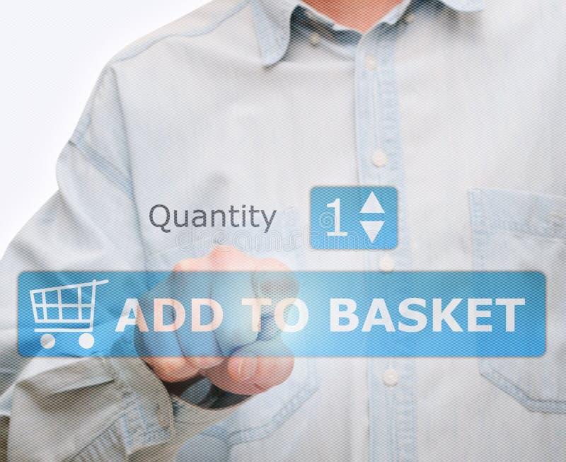 Pushing Add to Basket Button stock image