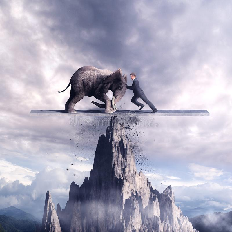 Pushing on a balance. Man and an elephant pushing eachother on a balance above mountain rock vector illustration
