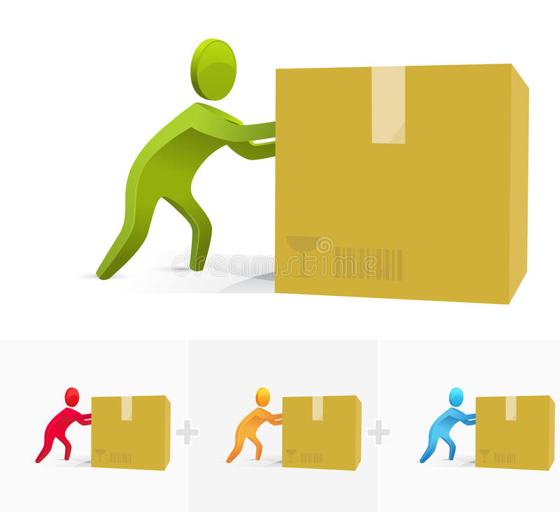 Download Pushing the box stock vector. Image of white, male, isolated - 16627595