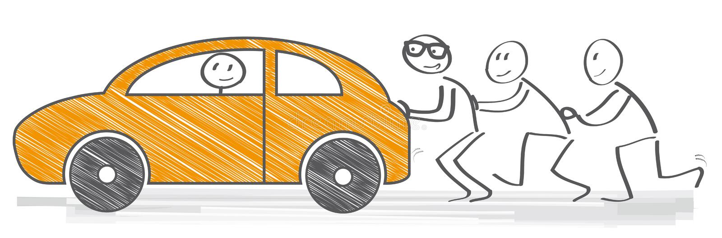 Pushing car vector illustration