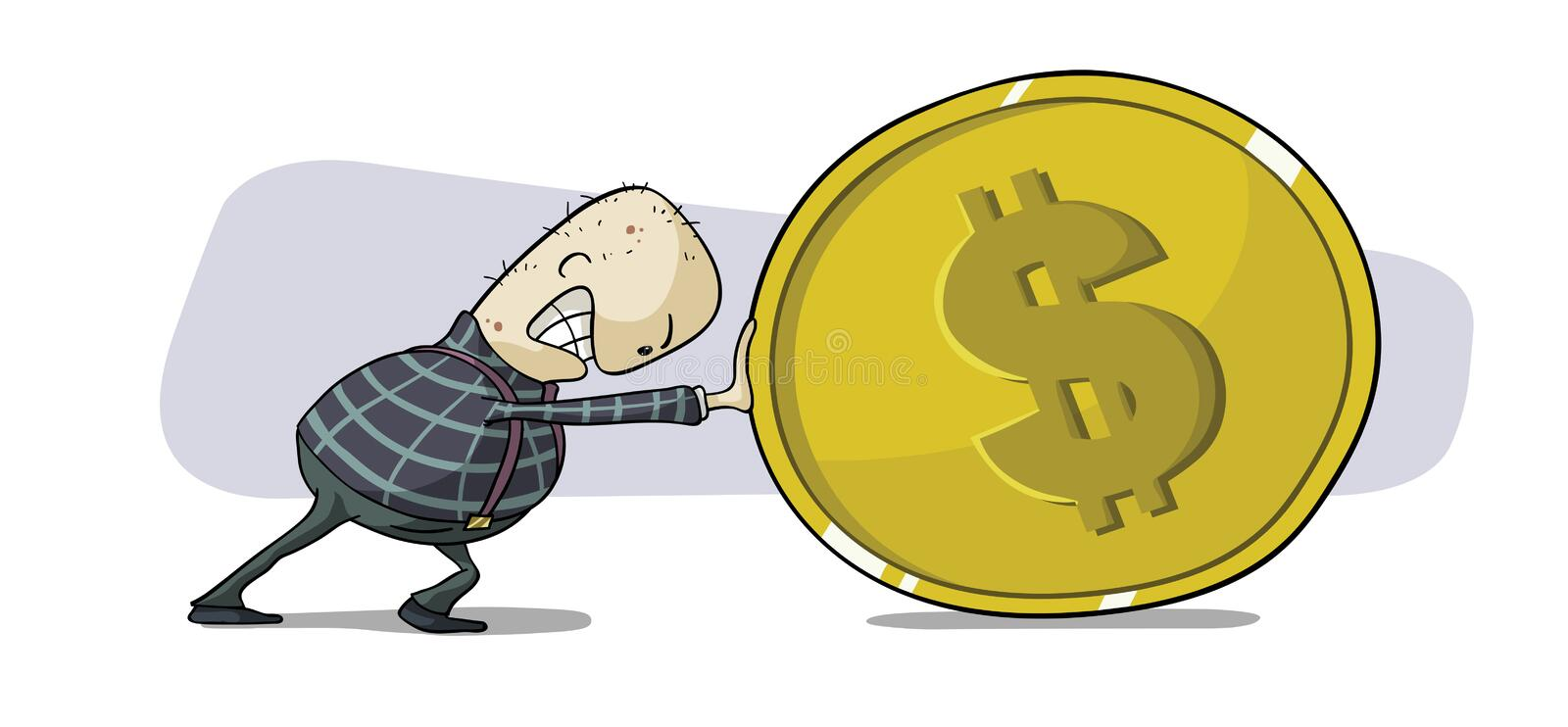 Download Pushing dollar coin stock vector. Image of image, currency - 26649435