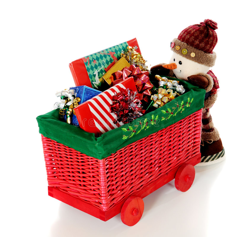 Pushing the Gift Cart royalty free stock photography
