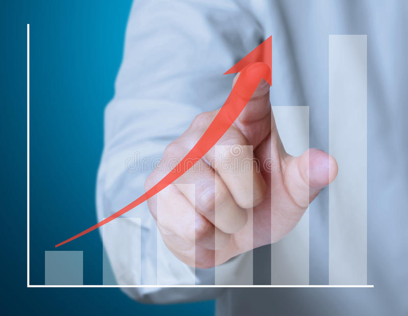 Pushing the graph. Business man pushing the graph stock illustration