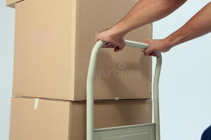 Download Pushing trolley stock photo. Image of parcel, barrow - 11399060