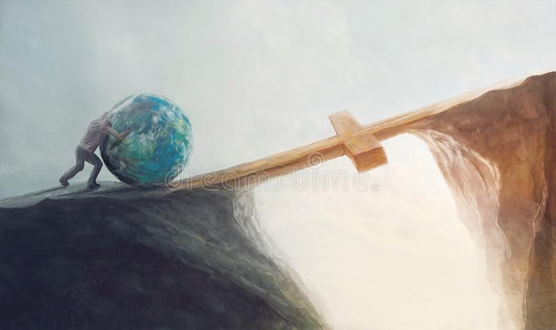 Pushing the world over the cross stock illustration