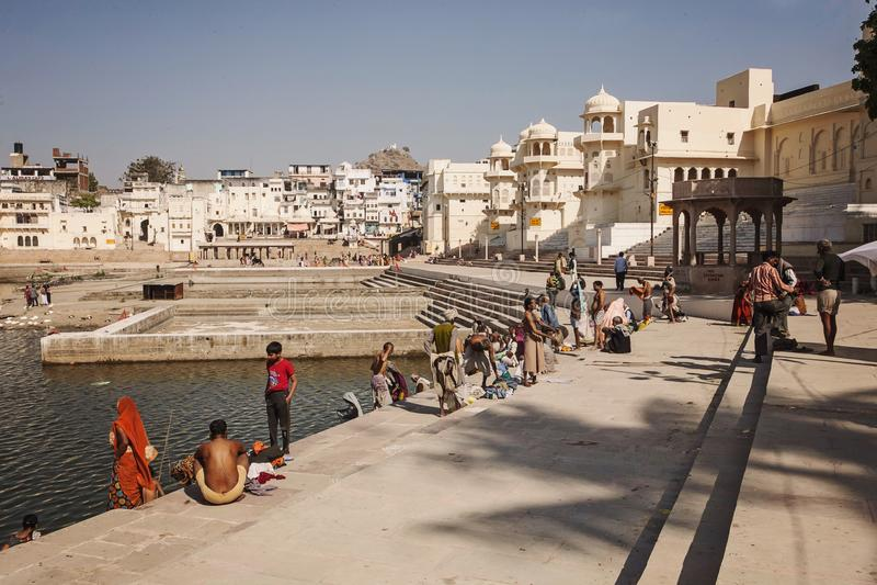 Pushkar heiliger See in Pushkar-Stadt, Rajasthan, Indien lizenzfreies stockfoto