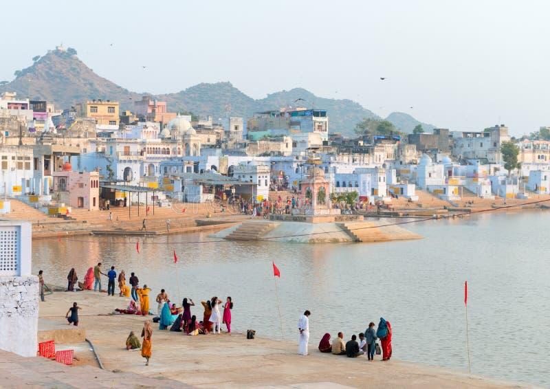 Święty święty miejsce dla Hindus grodzki Pushkar, India zdjęcie royalty free