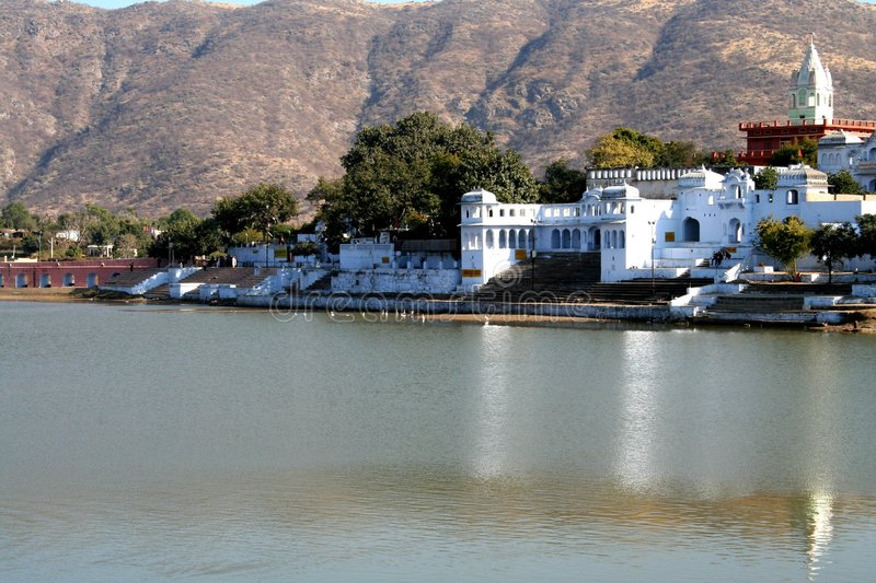 Pushkar Lake. This is the famous pushkar lake. The only place where according to Indian Mythology Brahma the Creator of the universe has his temple royalty free stock photos