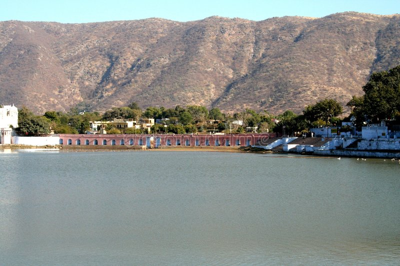 Pushkar Lake. This is the famous pushkar lake. The only place where according to Indian Mythology Brahma the Creator of the universe has his temple stock photos