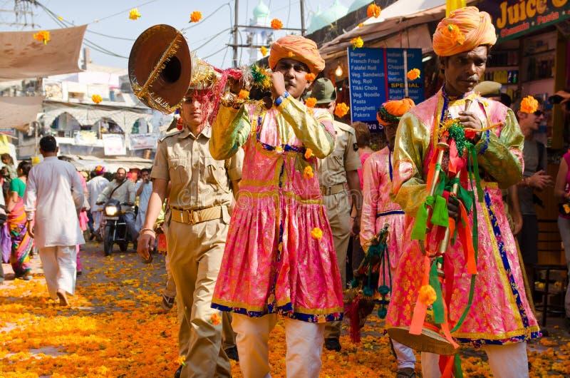Pushkar Procession With Marigold Flowers At Pushkar Camel Fair, Rajasthan, India stock image