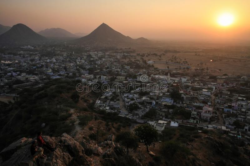 View on Pushkar and the Aravalli Hills from the Pap Mochani Gayatri Temple, Rajasthan, India royalty free stock photos