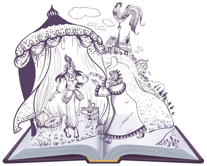 Pushkin fairy tale of Golden Cockerel open book illustration. Vector cartoon isolated on white vector illustration