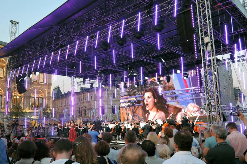 Pushkin Gala. Public concert on the Red Square in Moscow. It it dedicated to Alexander Pushking, famous Russian writer and poet, and it is held on his birthday stock images