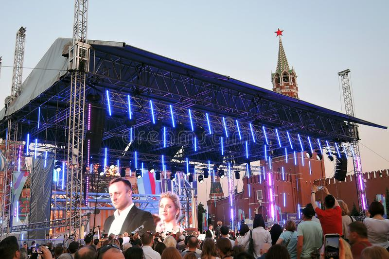Pushkin Gala. Public concert on the Red Square in Moscow. It it dedicated to Alexander Pushking, famous Russian writer and poet, and it is held on his birthday royalty free stock images