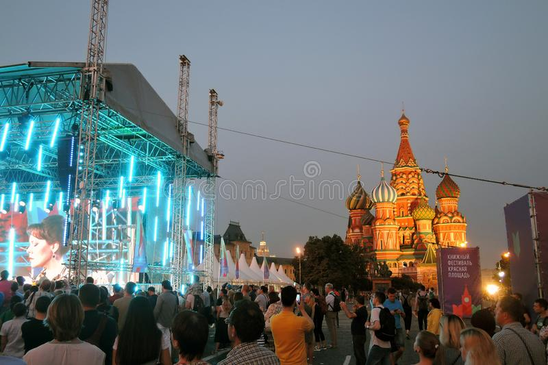 Pushkin Gala. Public concert on the Red Square in Moscow. It it dedicated to Alexander Pushking, famous Russian writer and poet, and it is held on his birthday stock photo