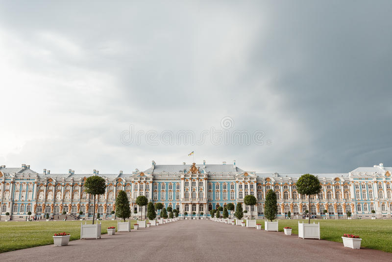 Pushkin pałac Tsarskoye Selo lub Catherine pałac w Pushkin, blisko świętego Petersburg, Rosja obraz royalty free