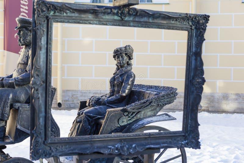 PUSHKIN RYSSLAND - JANUARI 21, 2015: Foto av skulptur arkivbild