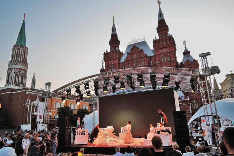 Pushkin`s birthday celebration. Public concert on the Red Square in Moscow. It it dedicated to Alexander Pushking, famous Russian writer and poet, and it is stock photo